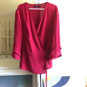 Bershka berry red wrap blouse